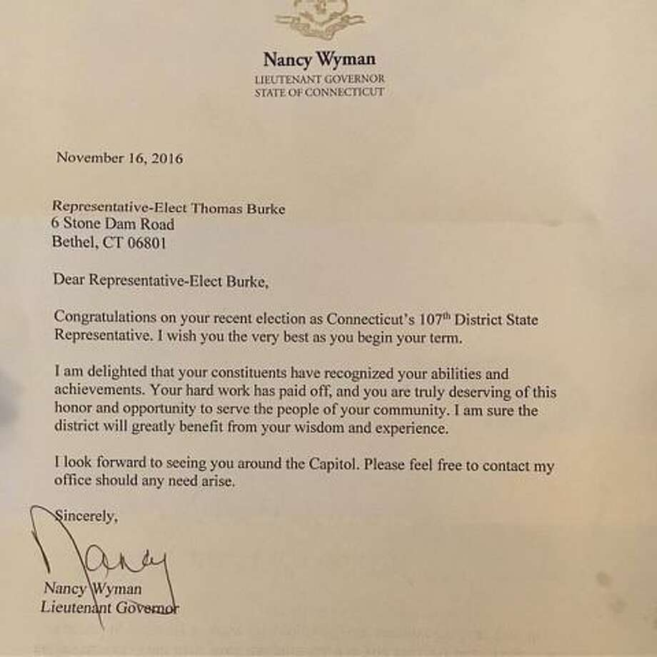 A letter signed by Lt. Gov. Nancy Wyman was mistakenly sent to Bethel Democrat Thomas Burke congratulating him on his election to the Legislature. Burke suspended his candidacy in the 107th House District in July, leaving Republican incumbent Steve Harding unopposed. Photo: Contributed Photo
