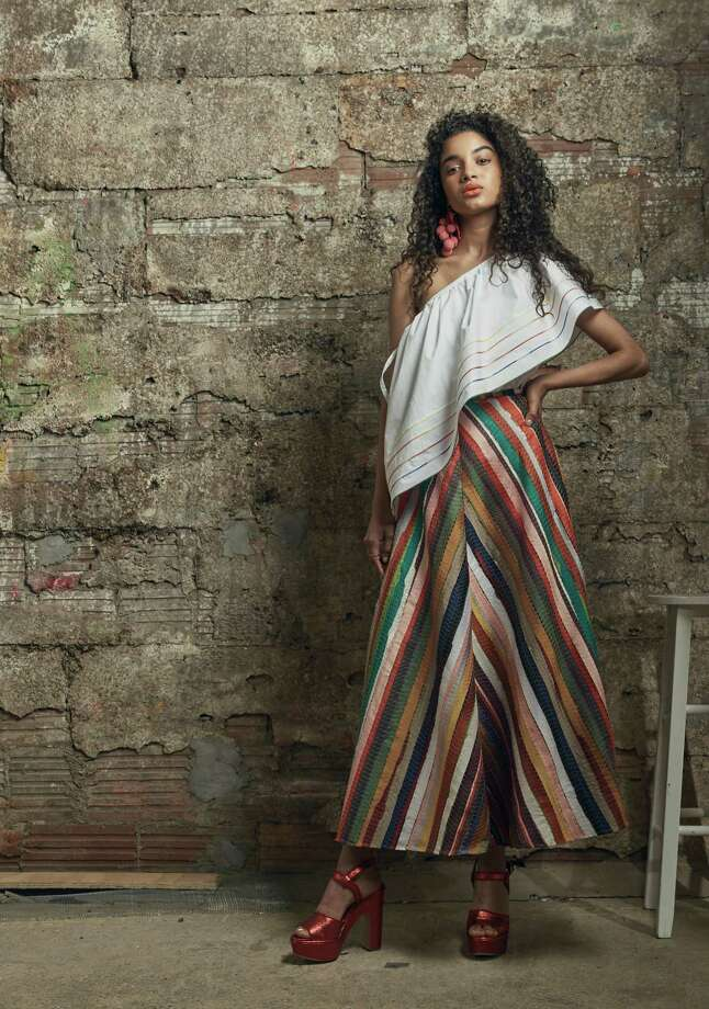Rosie Assoulin wedge top and melted rainbow A-line skirt from Forty Five Ten Photo: Forty Five Ten