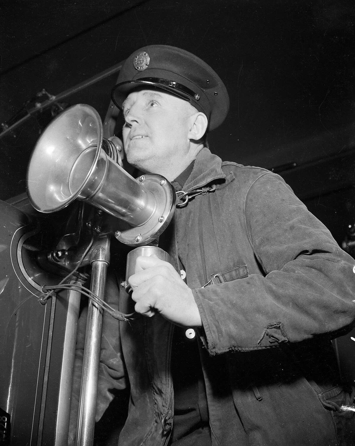 """when """"unidentified planes were sighted not far from san Francisco, Fireman Joseph V. Doherty of the Mint firehouse with used his fire truck siren to announce the blackout December 8, 1941"""