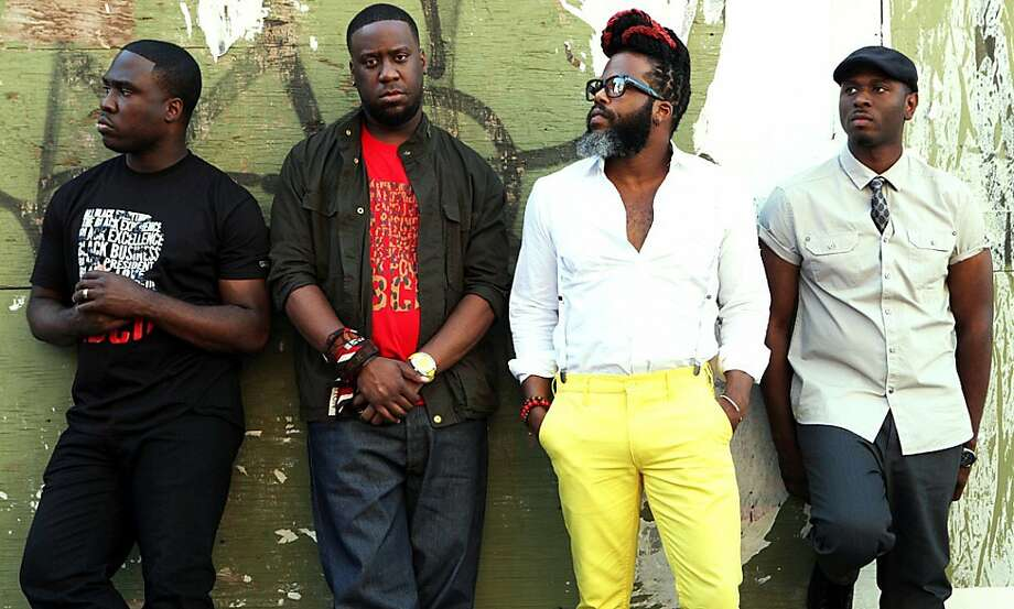 Robert Glasper (second from left) allows his developing affinity for pop, jazz rock and hip-hop to inform his musical sensibilities. The Robert Glasper Experiment features Casey Benjamin (saxophone/vocoder), Derrick Hodge (bass) and Mark Colenburg (drums). Photo: Courtesy Photo