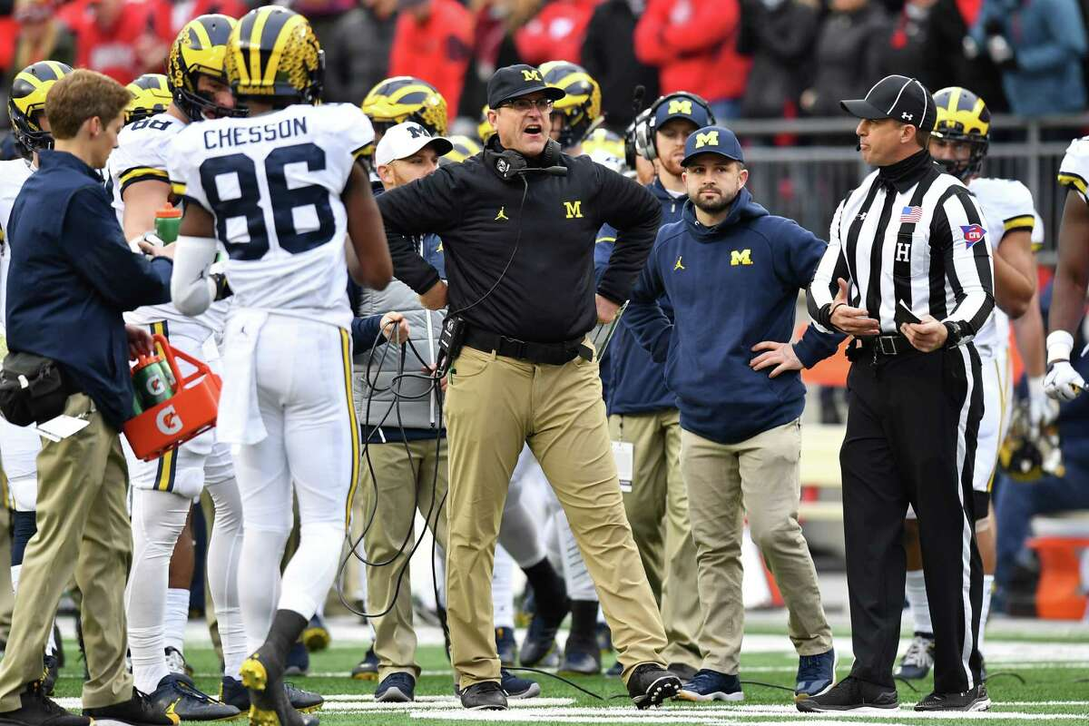 COLUMBUS, OH - NOVEMBER 26: Head coach Jim Harbaugh of the Michigan Wolverines argues a call on the sideline during the second half against the Ohio State Buckeyes at Ohio Stadium on November 26, 2016 in Columbus, Ohio.