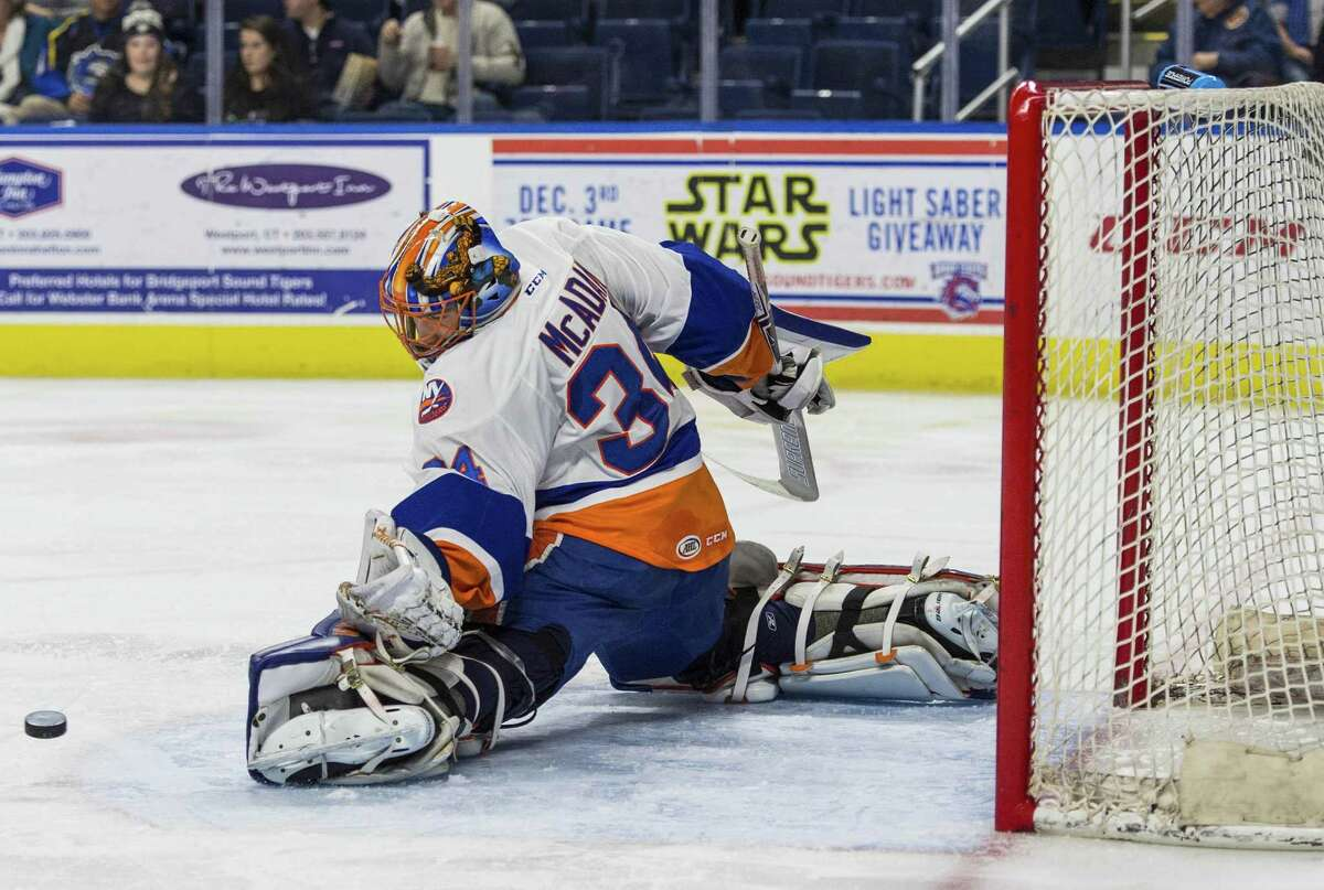 Sound Tigers goalie Eamon McAdam makes a kick save during a game against the Wilkes Barre/Scranton Penguins at the Webster Bank Arena in Bridgeport on Friday.