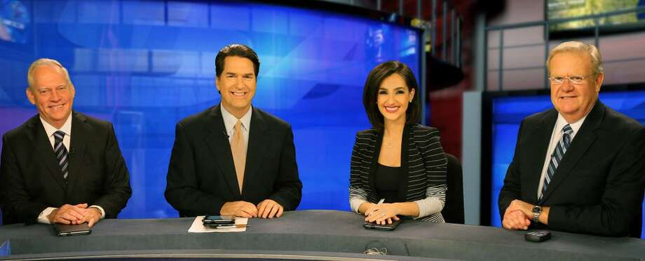 KSAT-TV's 10 p.m. team -- sportscaster Greg Simmons and co-anchors Steve Spriester and Isis Romero — will welcome a new member following the retirement of weathercaster Steve Browne in June: four-year station veteran Adam Caskey. Photo: /Courtesy KSAT