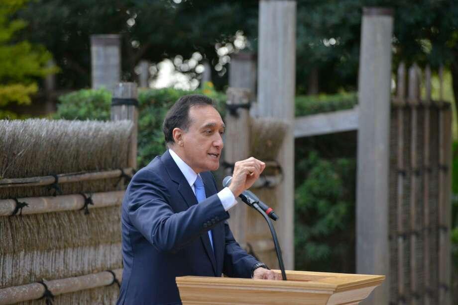 Former San Antonio Mayor Henry Cisneros Speaks During A Ceremony Unveiling  The Statue Of Naoko Shirane