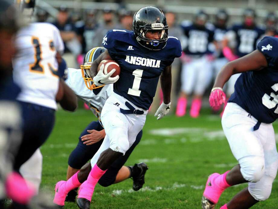 Ansonia's Markell Dobbs has run for 1,726 yards this season and scored 23 touchdowns. Photo: Christian Abraham / Hearst Connecticut Media / Connecticut Post