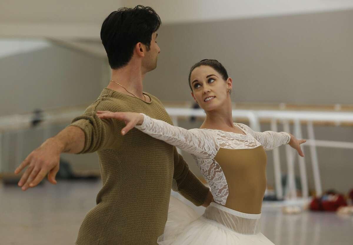 Vanessa Zahorian and Davit Karapetyan demonstrate a Nutcracker ballet rehearsal for the Chronicle at the Chris Hellman Center for Dance Nov. 23, 2016 in San Francisco, Calif.