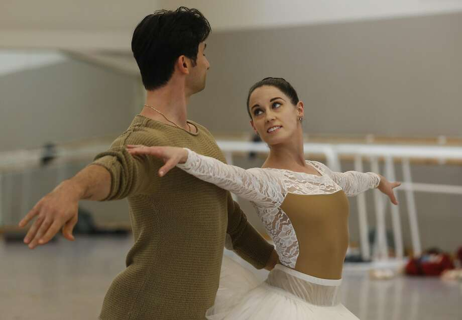 Vanessa Zahorian and Davit Karapetyan rehearse at the Chris Hellman Center for Dance. Photo: Leah Millis, The Chronicle