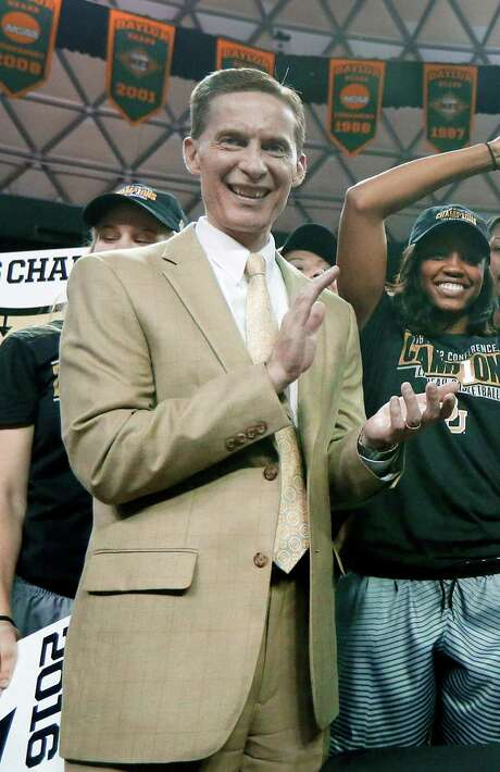 FILE - In this Feb. 29, 2016, file photo, Baylor athletic director Ian McCaw celebrates with the women's basketball team after they earned the Big 12 title following a win against Texas in an NCAA college basketball game in Waco, Texas. Ian McCaw, former athletic director at scandal-plagued Baylor, is the new athletic director at Liberty University. The school made the announcement on its web site Monday, Nov. 28, 2016. (AP Photo/Tony Gutierrez, File) Photo: Tony Gutierrez, STF / Copyright 2016 The Associated Press. All rights reserved.