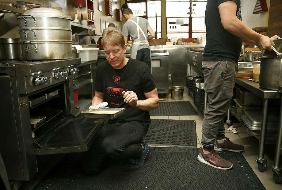 Chef Nick Balla makes sprouted mung bean noodles at Motze in S.F. Photo: Liz Hafalia, The Chronicle