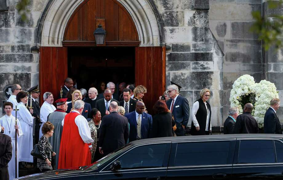 Friends and family of famed heart surgeon Denton Cooley leave Trinity Episcopal Church on Monday after a low-key memorial service celebrating his life and achievements. He died at home on Nov. 18, four weeks after the death of his wife of 67 years. Photo: Jon Shapley, Staff / © 2015  Houston Chronicle