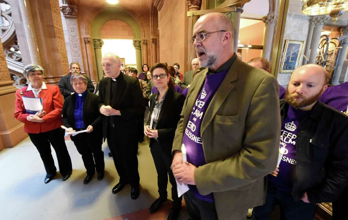 Kevin O'Connor of Joseph House speaks during a memorial at the State Capitol Monday Dec. 21, 2015, for the homeless that have passed away during the previous year during Homeless Memorial Day in Albany, N.Y. (Skip Dickstein/Times Union)