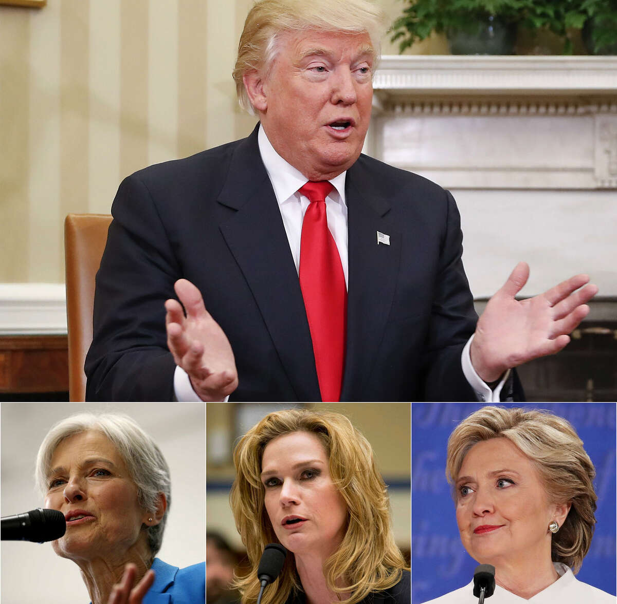 President-elect Donald Trump has complained about the movement for a vote recount.  Above: In this Nov. 10, 2016 file photo, President-elect Donald Trump speaks during his meeting with President Barack Obama in the Oval Office of the White House in Washington.(AP Photo/Pablo Martinez Monsivais)  Below, left: Green Party presidential candidate Jill Stein speaks during a campaign stop at Galeria E.V.A Sunday Oct. 16, 2016. (Edward A. Ornelas / San Antonio Express-News) Below, middle: Catherine Engelbrecht, founder of King Street Patriots, testifies on Capitol Hill in Washington, Thursday, Feb. 6, 2014, before the House subcommittee on Economic Growth, Job Creation hearing to investigate the Justice Department's investigation into an IRS abuse scandal. (AP Photo/Pablo Martinez Monsivais)  Below, right: Democratic presidential nominee former Secretary of State Hillary Clinton listens to Republican presidential nominee Donald Trump speak during the third U.S. presidential debate at the Thomas & Mack Center on October 19, 2016 in Las Vegas, Nevada. Photo by Drew Angerer/Getty Images)