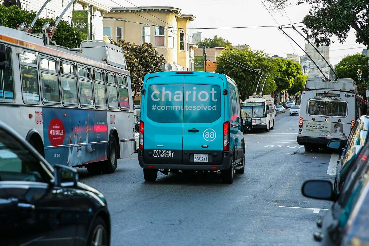 A Chariot commuter-van drives down Union Street, in San Francisco, California, on Monday, November 28, 2016.