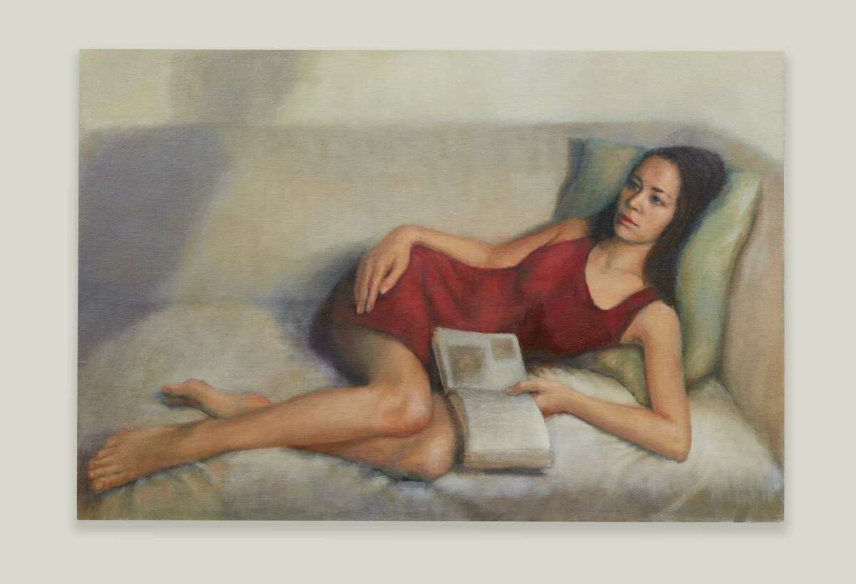 """A painting by Lois Chiles, for her show """"Woman to Woman"""" at Octavia Gallery."""