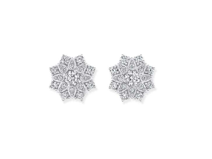 Lotus Cluster large diamond earrings by Harry Winston features 62 round brilliant diamonds weighting 4.17 carats.