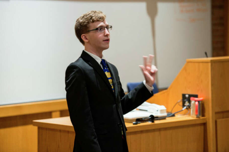 Photo provided Erik Breidinger, a communication and geography double major from Auburn, speaks during the 2016 Sims Public Speaking Contest at SVSU, where he was selected as the winner.