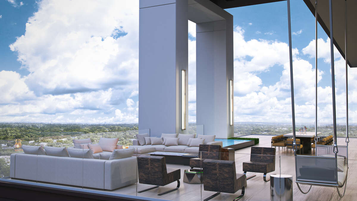 Renderings of the penthouse at The River Oaks, the 19-story high-rise under construction on Westheimer. The 79-unit building will have three penthouses. One of which will be listed as the most expensive luxury condominium ever in Houston at $13 million.