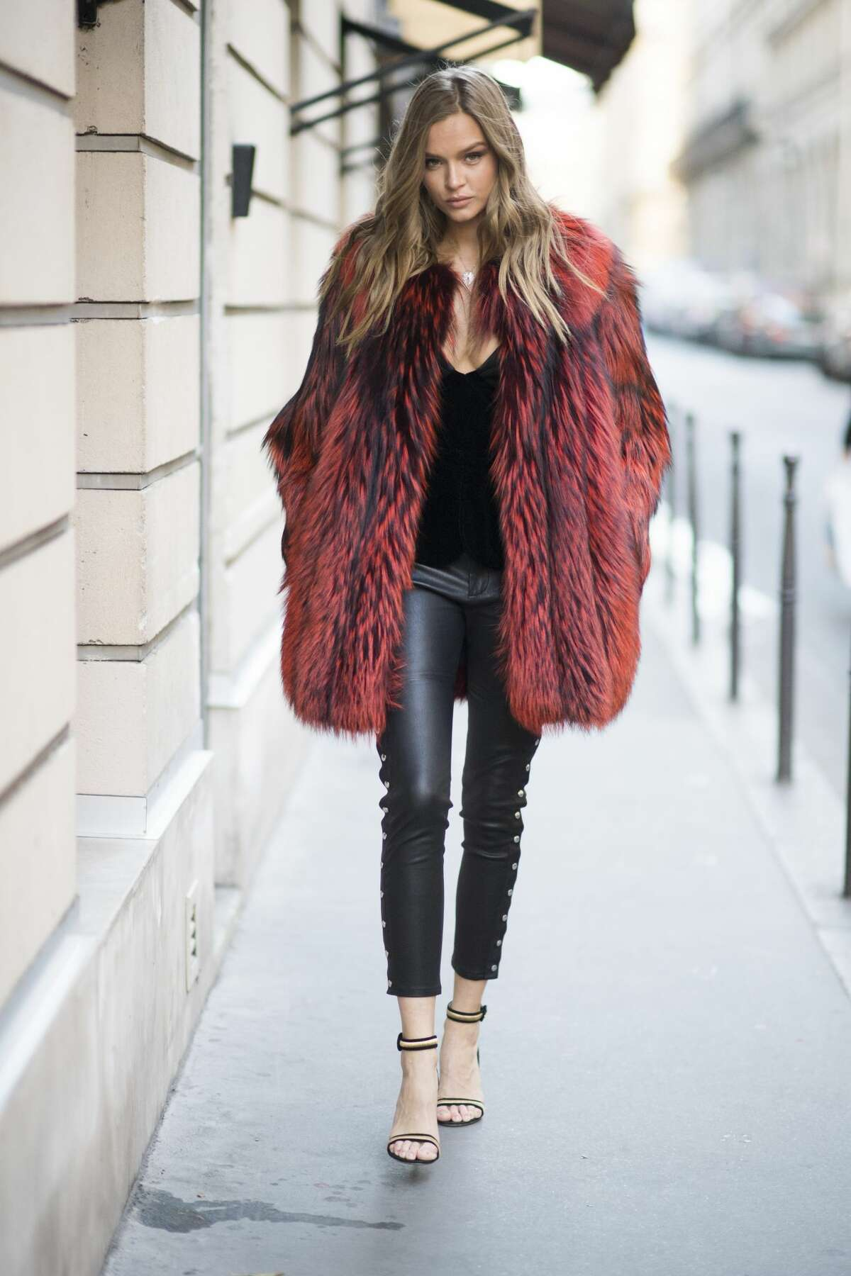 Josephine Skriver is seen wearing a fake fur coat before the Victorias Secret rehearsal
