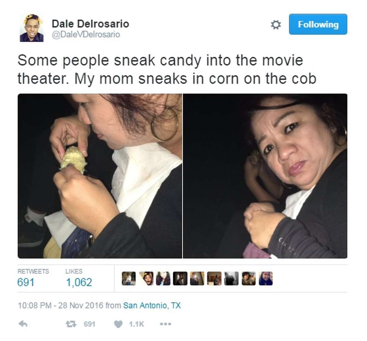 Dale Delrosario (@DaleVDelrosario) shared candid photos of his hungry mom on Twitter Thursday night.