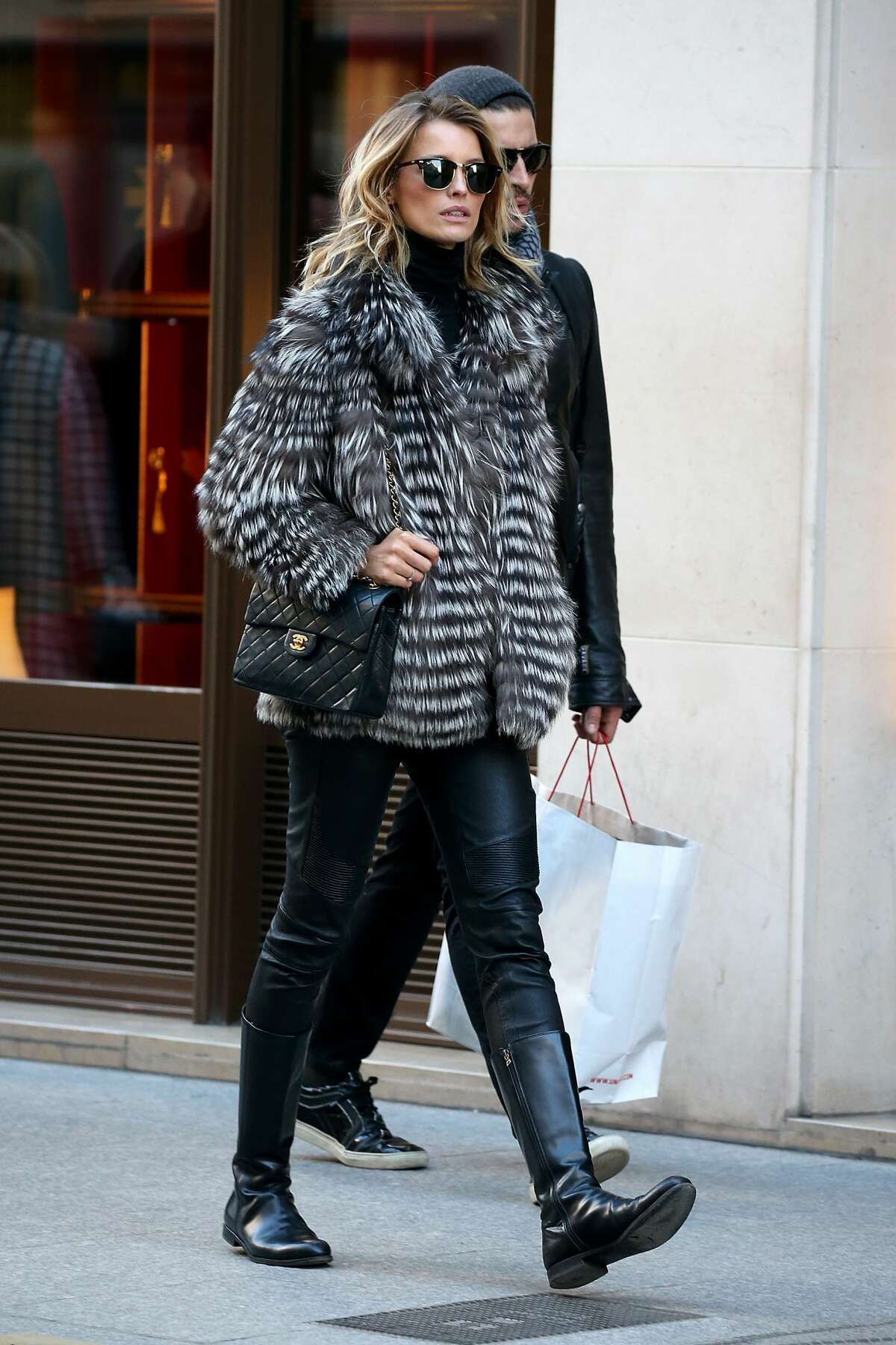 Flavia Luchini is seen outside her hotel ahead of the Victoria's Secret show