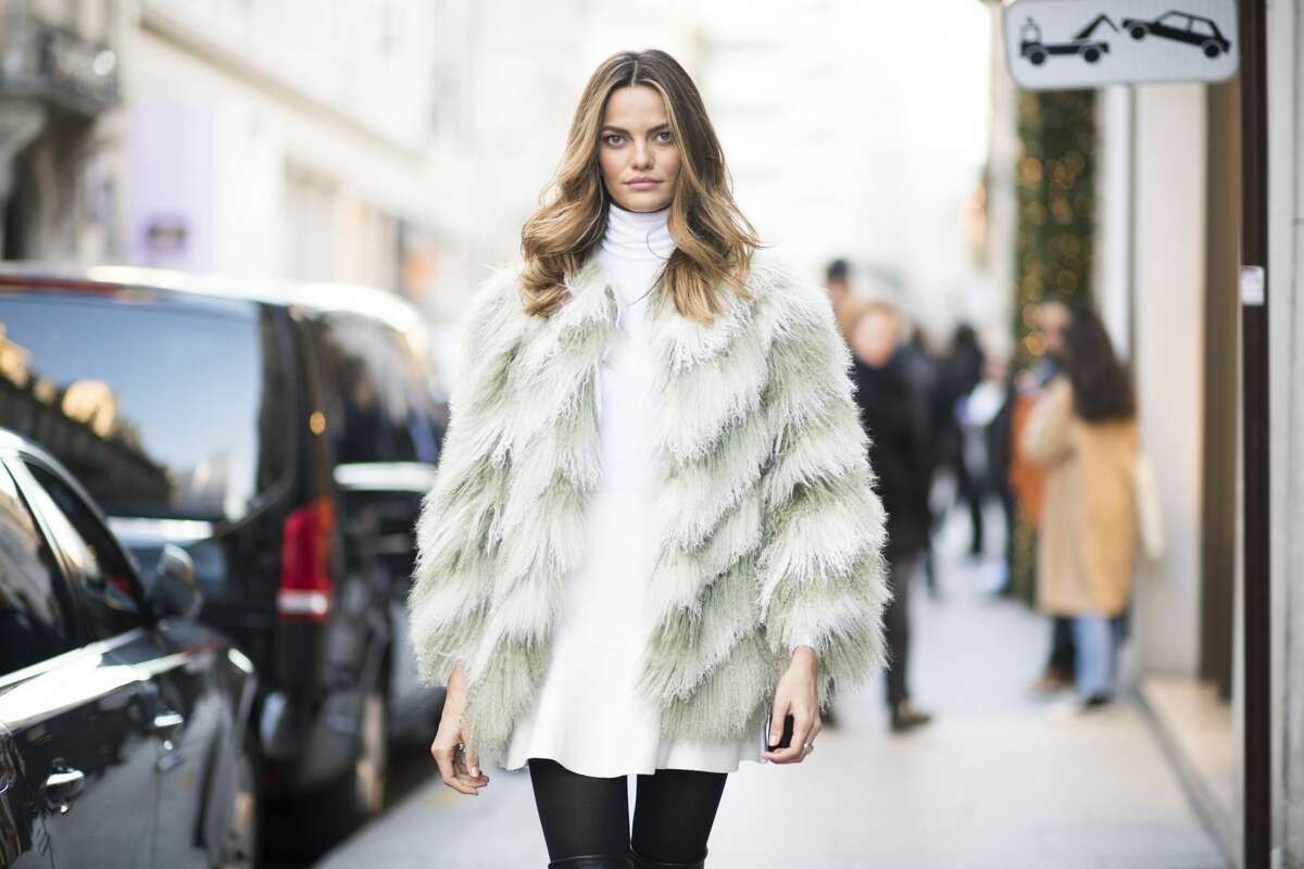 Barbara Fialho seen before the Victoria's Secret rehearsal in the streets of Paris