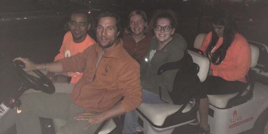 Matthew McConaughey drove fellow Longhorns home Monday night, Nov. 28, 2016, as part of the SURE Walk program. >>Click to see McConaughey's best film quotes.  Photo: University Of Texas/Twitter