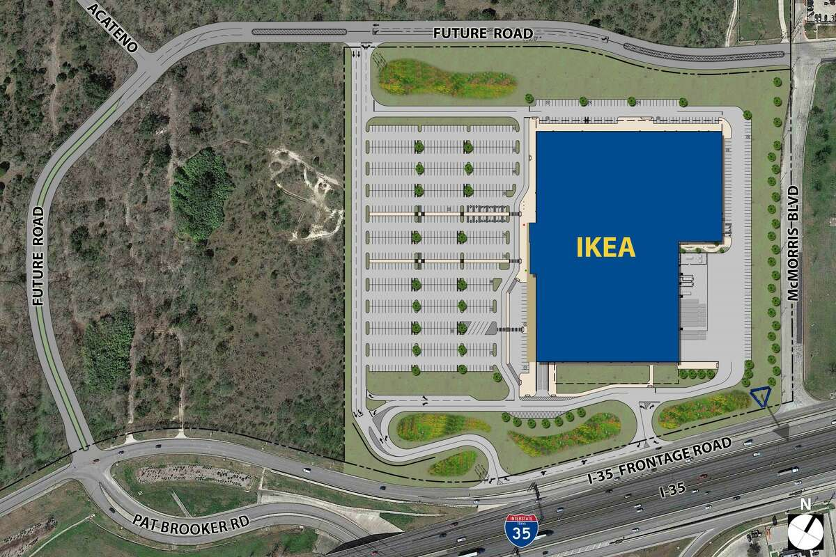 A rendering of the proposed290,000-square-foot Ikea store near the intersection of Loop 1604 and Interstate 35. The European furniture giant aims to buy 31 acres for the store.