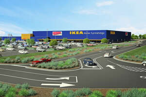 A rendering of the proposed290,000-square-foot Ikea store near the intersection of Loop 1604 and Interstate 35. The European furniture giant aims to break ground on the store in early 2018, the company said Tuesday.