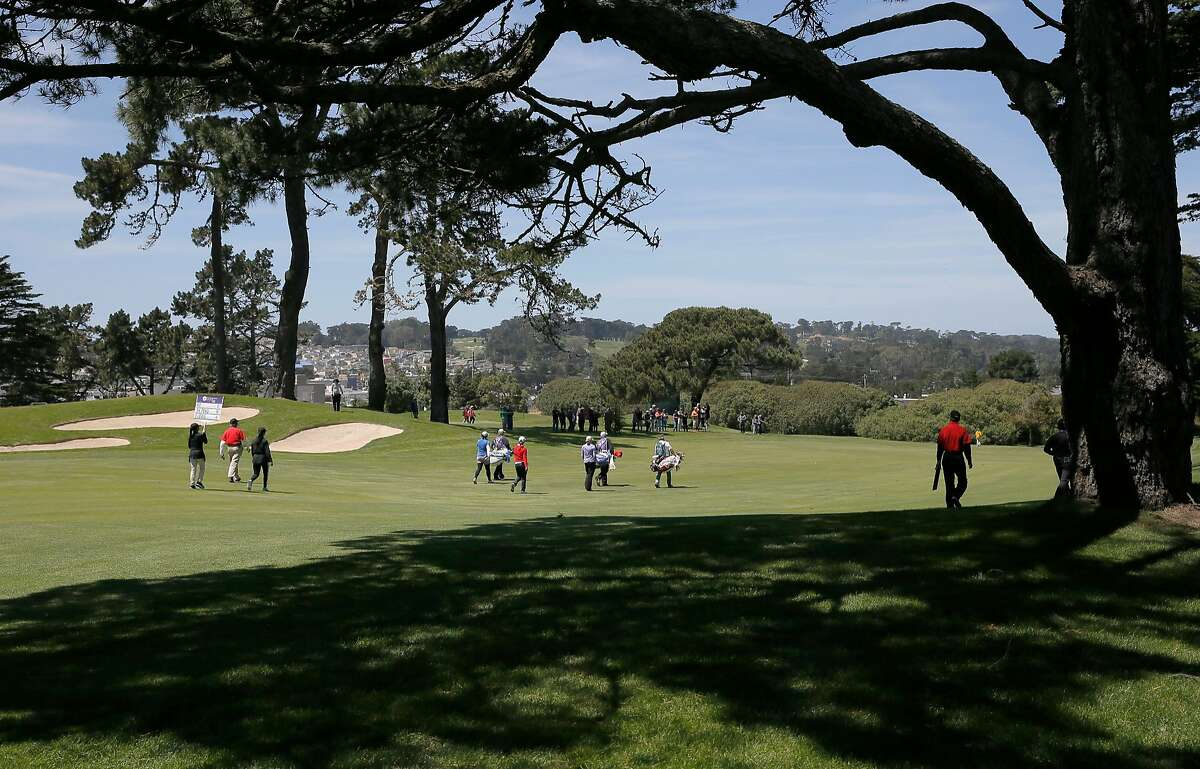 The group of Stacy Lewis, Shanshan Feng and Lydia Ko make their way down the second fairway, during the fourth and final round action at the Swinging Skirts LPGA Classic golf tournament at Lake Merced Golf Course in Daly City, Calif., on Sun. April 26, 2015.