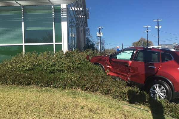 A two-car collision nearly sent one of the vehicles into the first level of UIW's Bowden Eye Care and Health Center on the East Side on Nov. 29. 2016.