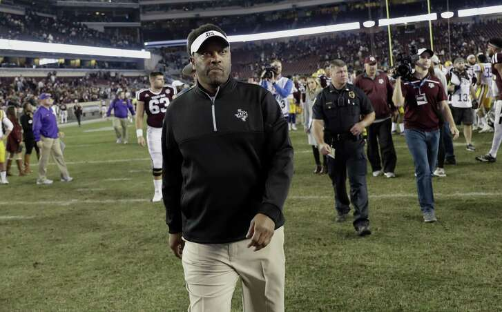 Texas A&M coach Kevin Sumlin leaves Kyle Field after losing to LSU 54-39 on Nov. 24, 2016, in College Station.