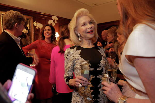 Lynn Wyatt, second from right, arrives at a party for the announcement of her being the 2017 Texas Medal of Arts Award honoree for Individual Arts Patron a party for the announcement at Phoebe and Bobby Tudor's home on Monday, Nov. 28, 2016, in Houston.
