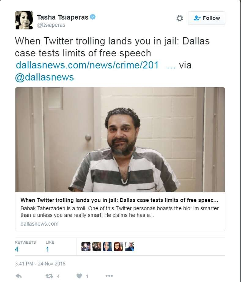 Babak Taherzadeh has been in Dallas County Jail since June 2016, after being accused of harassing a judge through Twitter. Image source: Twitter Photo: Tasha Tsiaperas Twitter