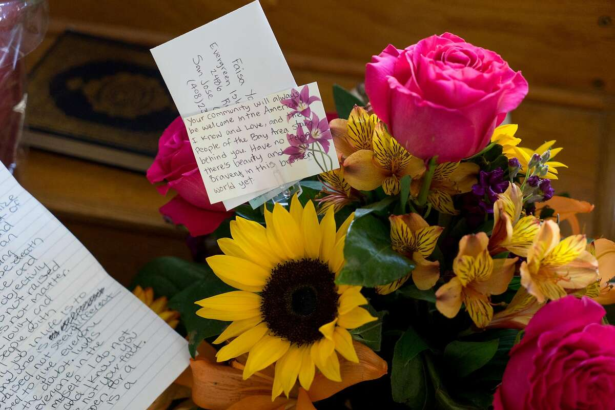 Notes of support are seen at the Evergreen Islamic Center in San Jose, Calif. on Tuesday, Nov. 29, 2016. The Mosque received a hate-filled letter which resulted in an outpouring of support from the local community.