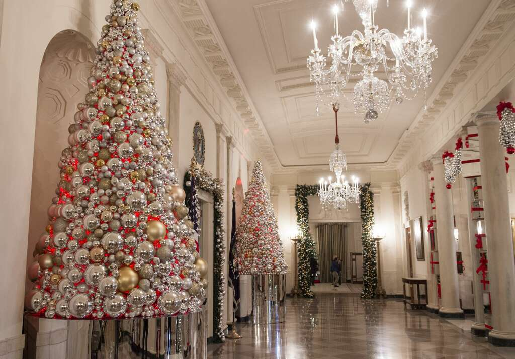 Christmas Trees And Holiday Decorations In The Theme Of The Gift Of The Holidays