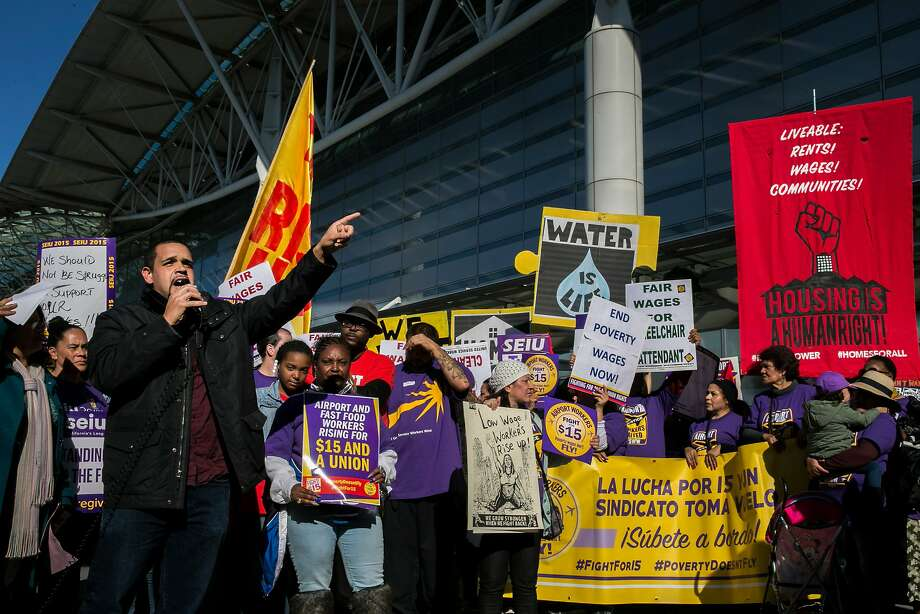 Melvin Willis, of the Richmond City Council, speaks in support of protesters outside the San Francisco International Airport (SFO) on Tuesday, Nov. 29, 2016 in San Francisco, Calif. Low-wage workers, like fast-food workers and baggage handlers among others, went on a one-day strike at SFO and Oakland International Airport to demand a wage of $15 an hour. Photo: Santiago Mejia, The Chronicle