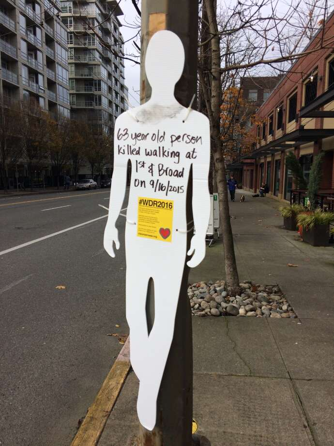 Seattle Neighborhood Greenways will once again recognize the World Day of Remembrance for traffic victims. While they have organized more visual demostrations in the past, such as these white silhouettes posted at crash sites, this year's event will be a private one for loved ones of victims. Photo: Sarah Rupp/seattlepi.com