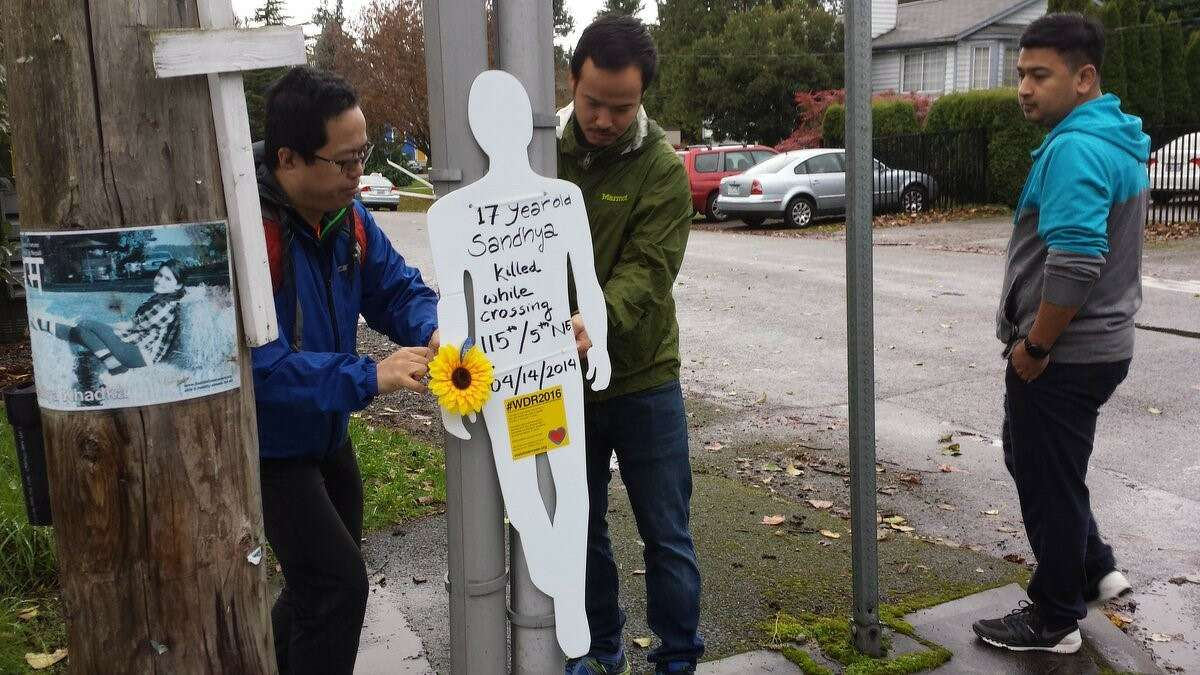 Seattle Neighborhood Greenways will once again recognize the World Day of Remembrance for traffic victims. While they have organized more visual demostrations in the past, such as these white silhouettes posted at crash sites, this year's event will be a private one for loved ones of victims.