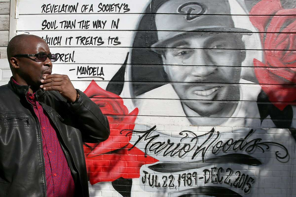Shawn Richards, president of Brothers Against Guns and former family spokesman, at the mural of Mario Woods at Third and Oakdale on Tuesday, November 22, 2016, in San Francisco, Calif.