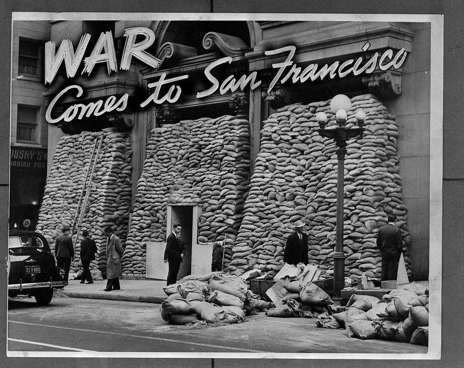 The Chronicle on Dec. 10, 1941, ran this illustration of the Pacific Telephone & Telegraph building covered by sandbags, meant to protect it from bomb blasts. Photo: Photographer Unknown, The Chronicle