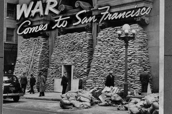 ThePacific Telephone & Telegraph building was covered by sandbags, to protect it from bomb blasts after the Japanese bombing of Pearl Harbor, December 9, 1941
