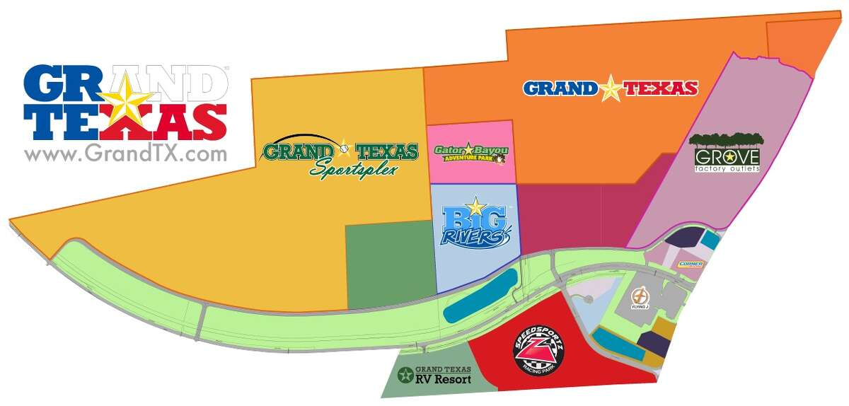 The entire Grand Texas development includes the amusement park, the Big Rivers water park - which is slated to open by spring 2019 - an outlet mall, hotels, dining and more, according to the Grand Texas website.