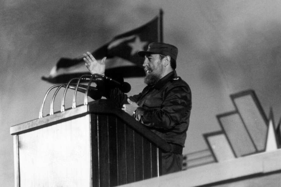 (FILES) This file photo taken on January 4, 1988 in Havana shows Cuban president Fidel Castro delivering a speech during the 30th Anniversary of the Cuban Revolution.  Cuban revolutionary icon Fidel Castro died late on November 25, 2016 in Havana, his brother announced on national television. / AFP PHOTO / RAFAEL PEREZRAFAEL PEREZ/AFP/Getty Images Photo: RAFAEL PEREZ, Stringer / AFP or licensors