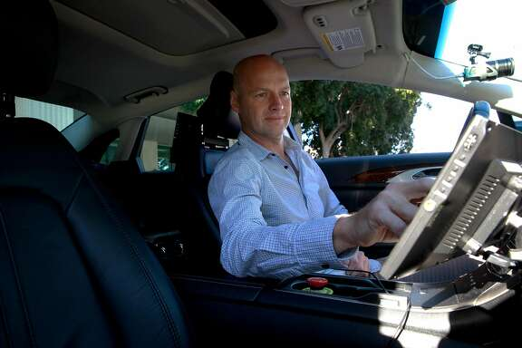 Sebastian Thrun, a pioneer of self-driving technology is the founder of Udacity an online learning company that offers nano degrees to prepare students for technology jobs, sits inside their self-driving at their headquarters in Mountain View,, California on Tuesday November 29, 2016.