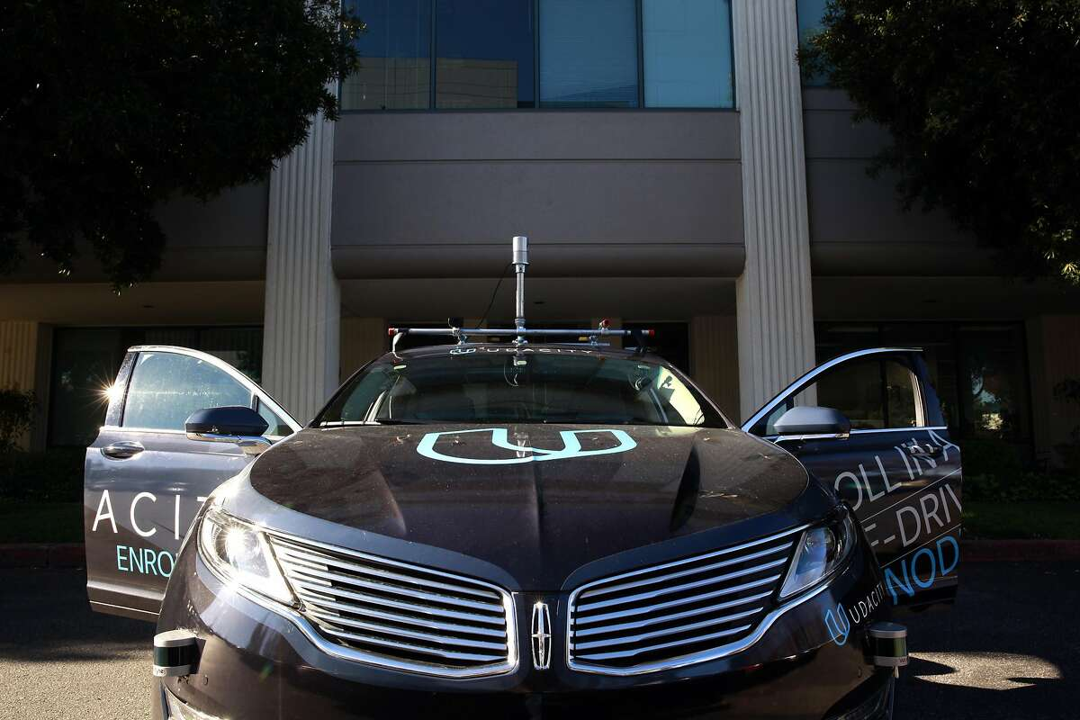 The Udacity self-driving car is seen at their headquarters in Mountain View, California on Tuesday November 29, 2016.