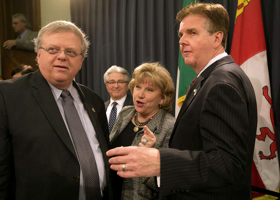 Senate Finance Committee Chair Jane Nelson, R-Flower Mound, center, talks over Senate Bill 2 with Lt. Governor Dan Patrick, right, and Sen. Paul Bettencourt, R-Houston, the author of the bill. Photo: Ralph Barrera, MBO / Austin American-Statesman