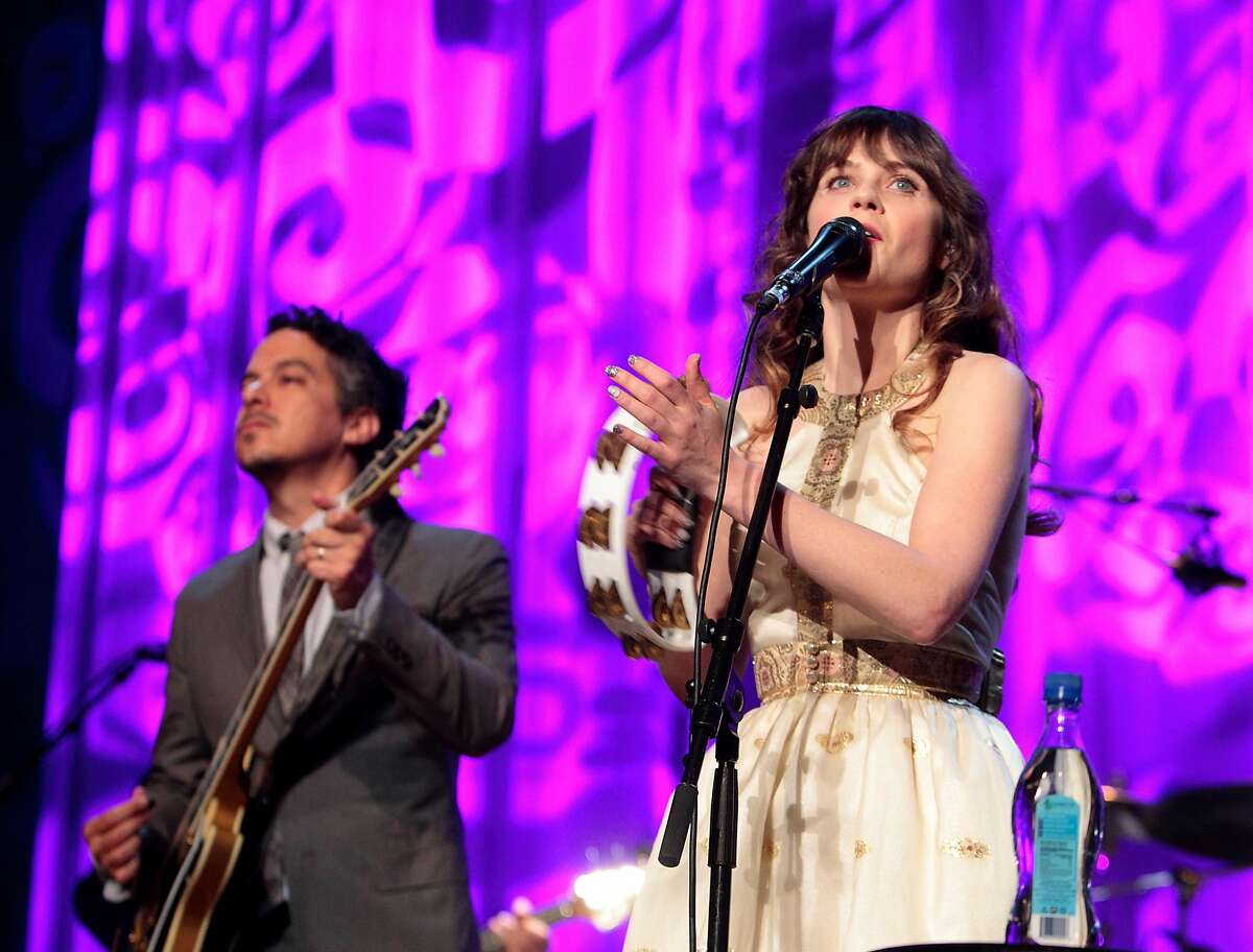 Indie rock band She & Him performs at the Mann Center on Tuesday, July 9, 2013, in Philadelphia. (Photo by Owen Sweeney/Invision/AP)