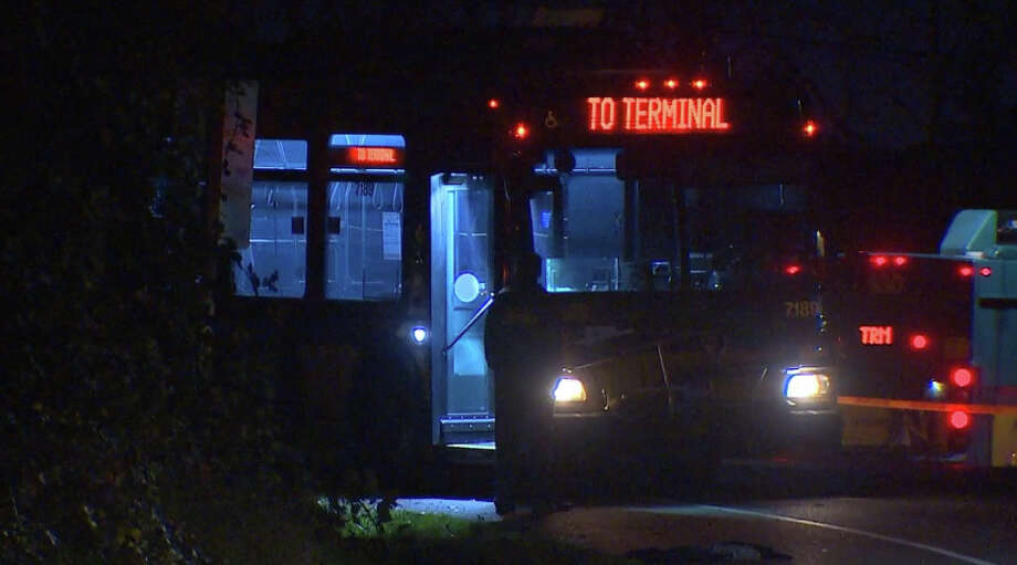 A shooting Tuesday evening aboard a King County Metro bus left one man critically injured and another jailed. Photo: KOMO NEWS Photo