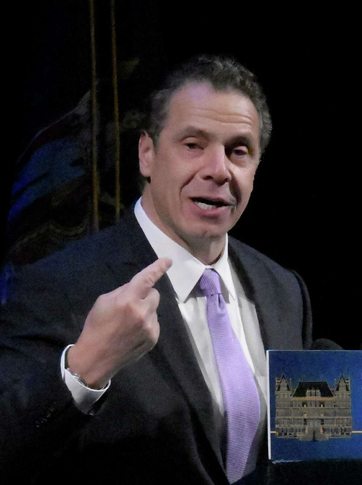 Governor Andrew Cuomo addresses the Regional Conference on Sustainable Community Development and was tasked with introducing HUD Secretary Julian Castro Tuesday Nov. 29, 2016 in Schenectady, N.Y. (Skip Dickstein/Times Union)