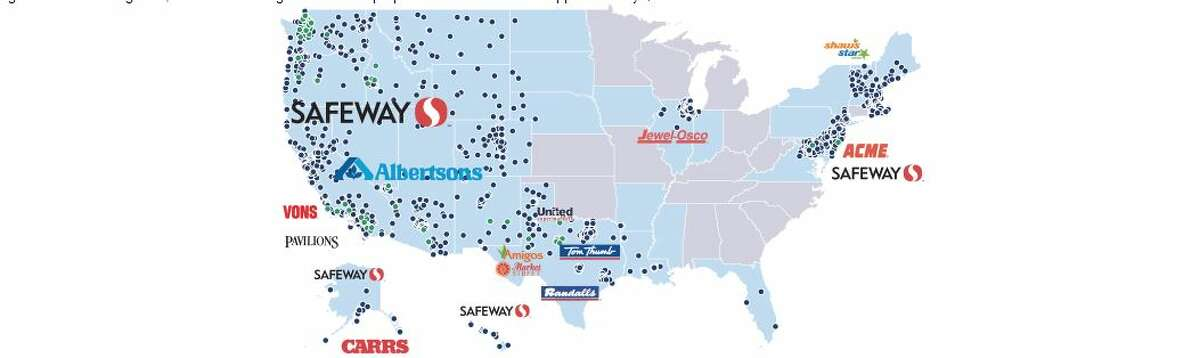 A map of all the supermarkets that Albertsons owns in the United States. Much of the company's stores are concentrated in the West and Mid-West but the company has been adding holdings in the Northeast.